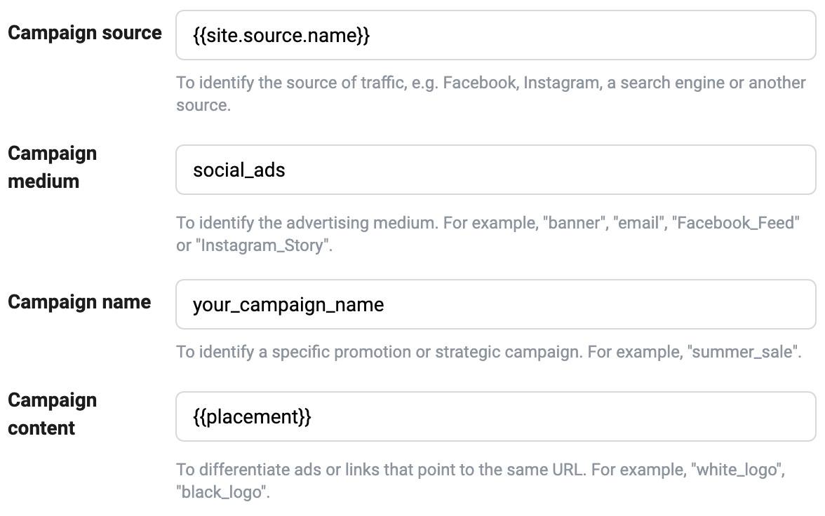 Facebook ads add UTM codes