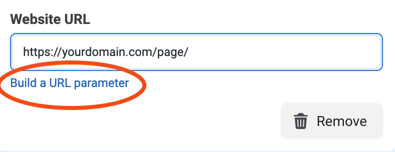Facebook ads build URL parameter